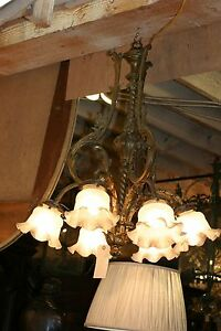 Antique French Bronze Six Light Chandelier Turn Of The Century