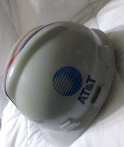 1986 Msa Skullgard At t Work Man Hard Hat Wlth Stickers Medium Gray