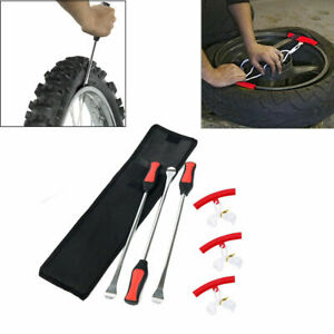 Motorcycle Spoon Tire Iron Kit Tire Change Lever Tool W Rim Protectors