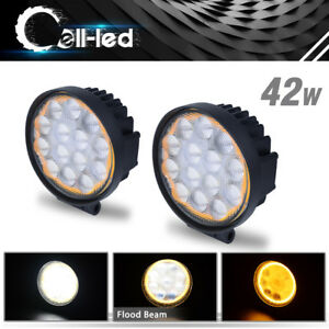 Amber White Led Pods Work Light Round 4 Inch Offroad Fog Lamp Suv Ute 4x4wd Atv
