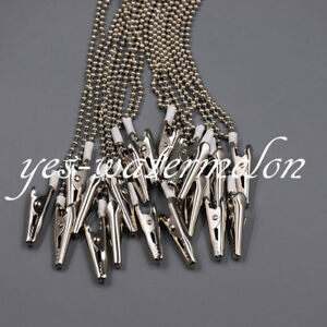 10 Pcs Dental Metal Bib Clips Flexible Ball Chain Napkin Holder Silver 40cm