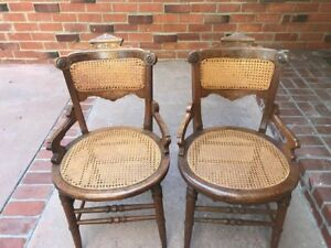 Antique Cane Back Chairs Very Pretty Matched Pair In Very Good Condition