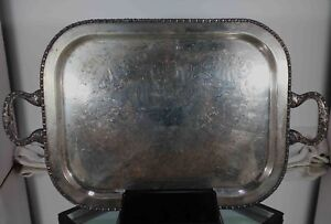 Vintage 23 X14 Silver Plated On Copper Butler S Double Handle Serving Tray