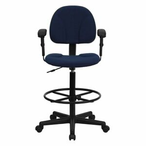 Multi functional Ergonomic Drafting Stool With Navy Blue Fabric