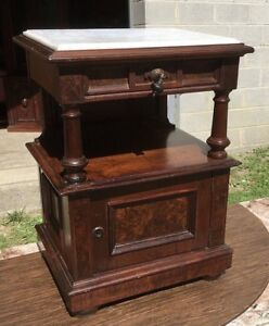 Walnut Marble Top 1 2 Commode