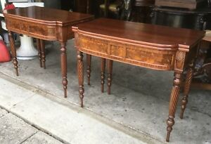 Pair Of Flame Mahogany Console Game Tables