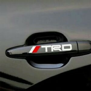 For Toyota 4 Pcs Trd Handle Car Sticker Adhesive Auto Door Decal White