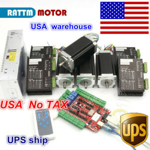 usa Stock Usb Cnc 4 Axis Nema23 Stepper Motor 425oz in Dual Shaft