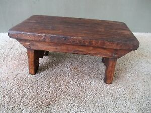 Antique Foot Stool Small Cricket Vintage Primitive Oak Wood 12 Footstool Bench