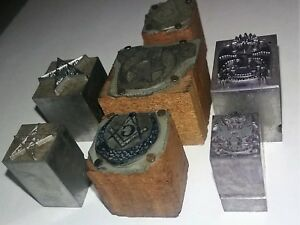 Antique Masonic Printers Cuts Letterpress Printers Block Vintage Cut lot Of 7