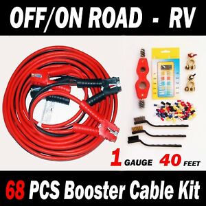 Off on Road Rv 68 Pcs Booster Cable Kit 40 Ft 1 Gauge Jumper Cables