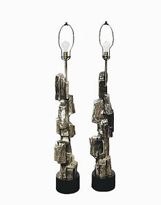 Pair Of Tall Brutalist Lamps Maurizio Tempestini For Laurel Excellent Condition
