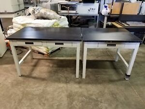 Lot 2 Lab Tables Metal powder Coated Black Slab Top With Ss Drawers