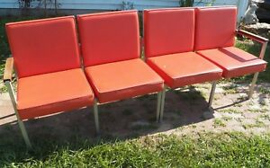 Vintage Welded Aluminum Bench Mid Century Modern Danish Lounge Sofa Seating