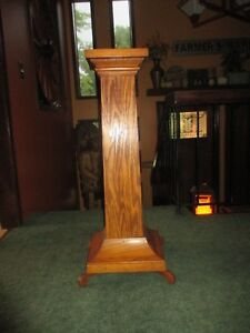 Vtg Mission Style Wood Quartersawn Oak Pedestal Plant Fern Stand