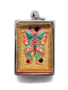 King Of Butterfly With 9 Tailed Fox Lady By Kruba Krissana Thai Buddha Amulet 3