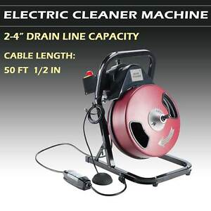 1 2 Inch By 50 Feet Electric Drain Cleaner Drum Auger Snake 1 To 4 Pipes