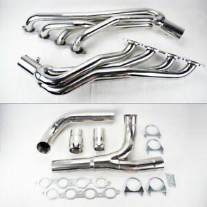 Long Tube Stainless Steel Headers W Y Pipe Fits Chevy Gmc 14 17 5 3l 6 2l