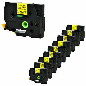 10x Heat Shrink Tube Black On Yellow Tape For Brother Hse641 P touch 11 7mmx1 5m