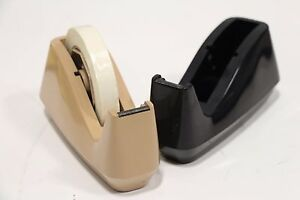 Lot Of 2 Lion Tape Dispenser Vintage Black Beige 25 Free Priority Shipping