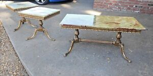 French Maison Jansen Coffee Table 2 Side Tables With Green Onyx Top And Brass