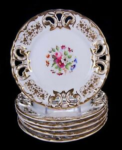 Rare Set 6 Antique Old Paris French Hand Painted Plates Reticulated