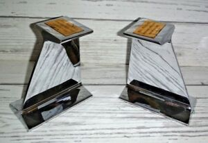 Set Of 2 Bethlehem Steel Corp Chrome Plated I Beams Award Bookends