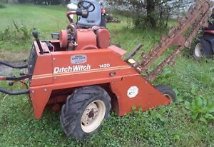 Ditch Witch 1420 Walk Behind Trencher Low Hours With Transport Trailer