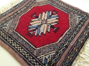 Miniature Persian Rug Wool Plush Knotted Carpet Doll House Red Beige Blue Vtg