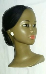 Vintage Black Beauty Mini Head Mannequin Collectible Beautiful Girl Happy Face