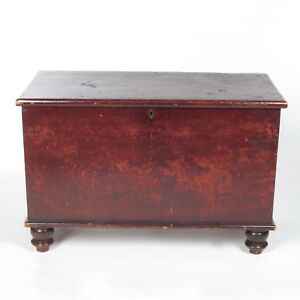 Antique Pine Blanket Chest Trunk Box Red Stain Over Salmon Paint Wood Dovetailed