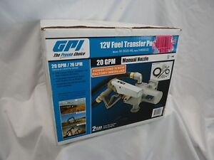 New Gpi 12v dc fuel transfer pump manual nozzle up to 20 gpm model m 3020 ml