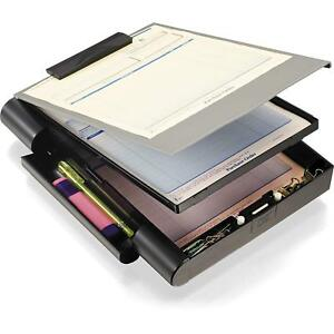 Gray Black Plastic Double Storage Clipboard Forms Holder With Pen Comapartments