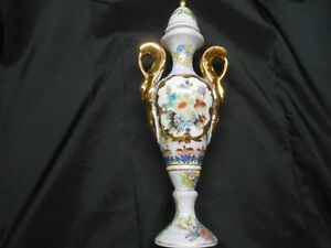 Porcelain Double Handled Lidded Tall Urn Shabby Chic 14 3 4