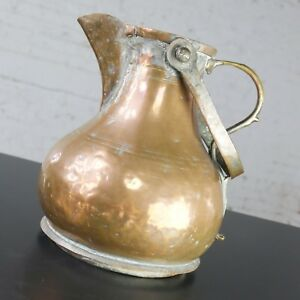 Large Antique Turkish Ottoman Copper Pitcher Coffee Pot Double Handled