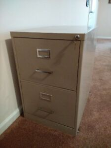 2 Drawer Metal File Cabinet Oversize With Lock Beige Color
