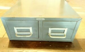 Vintage Cole Steel 2 Drawer Metal Cabinet File Cabinet Industrial Cabinet
