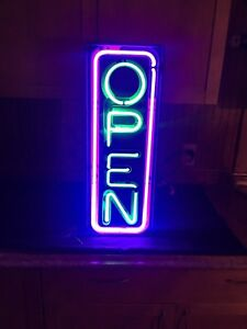 Vintage Fallon Neon Open Vertical Lighted Business Hanging Sign 26 X 10