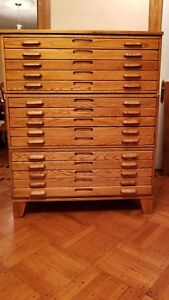Vintage Oak Map Blueprint Photograph Flat File Cabinet