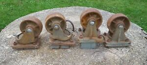 4 huge Antique Matching Cast Iron Industrial Caster Cart Wheels 9 Lbs Each