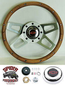 88 94 Suburban Blazer Chevy Pickup Steering Wheel Bowtie 13 1 2 Walnut 4 Spoke