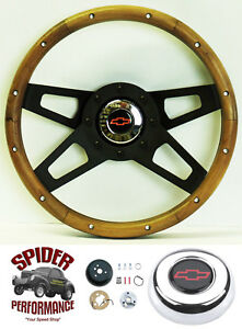 74 79 Blazer Chevy Pickup Steering Wheel Red Bowtie 13 1 2 Walnut 4 Spoke Black