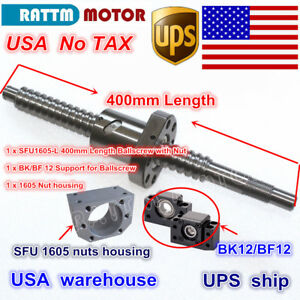 us Ball Screw Sfu1605 400mm End Machined Bk bf 12 Support nut Cnc Router Kit