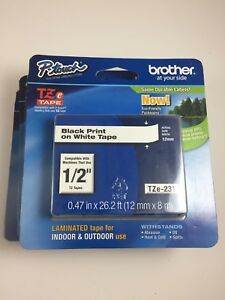 Genuine Brother P touch Tze 231 1 2 Black Print White Tape Tz231 Tz 231 4 pack