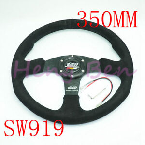 Black Mugen 14 Inch 350mm Universal Drifting Leather Steering Wheel