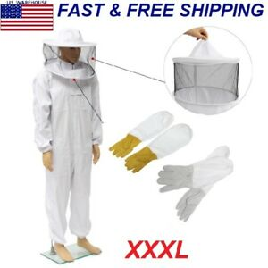 Beekeepers Bee Keeping Cotton Full Protector Suit With Veil Hat Hood Bee Xxxl