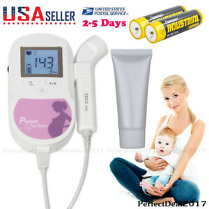 Contec Brand Pocket Fetal Doppler 3 Mhz Lcd Prenatal Heart Rate Baby Monitor gel