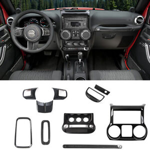 8pc Set Car Interior Parts Dashboard Decoration Cover For Jeep Wrangler Jk Jku