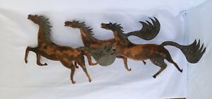 Mid Century Copper Wild Running Horses Wall Hanging Lodge Western Signed