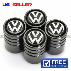 Valve Stem Caps Wheel Tire Black For Volkswagen Ve38 Us Seller